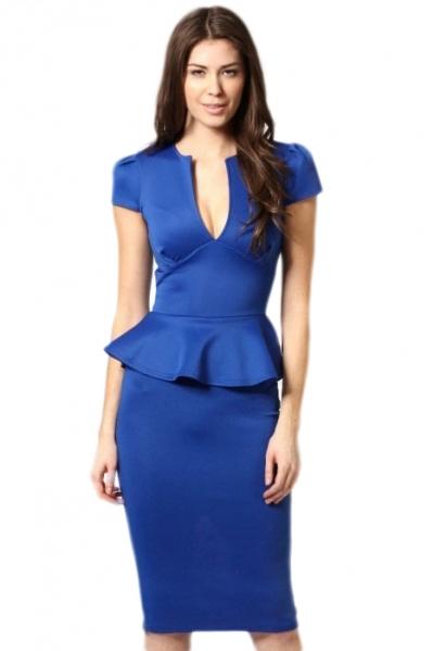 Noble V-neck Midi Peplum Dress Royalblue