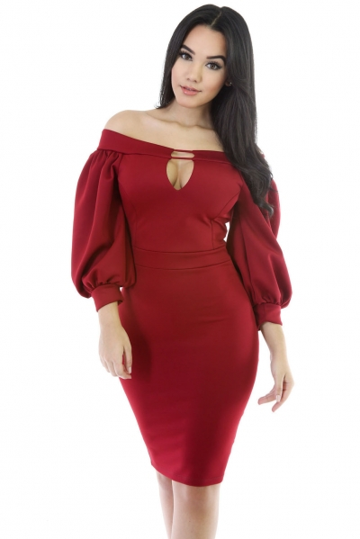 Red Puffs Peep Hole Off Shoulder Midi Bodycon Dress