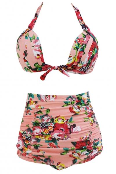 Floral Print Pinkish High Waist Bikini Swimsuit