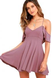 Sweet Sexy Purple Backless Skater Dress