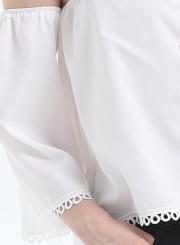 Women's Solid Halterneck off Shoulder Long Sleeve Blouse