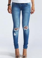 Women's Low Waist Ripped Denim Pencil Pants Jeans