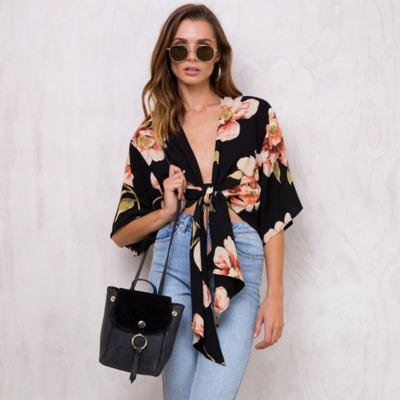 Women's Floral Printed V Neck Short Sleeve Two-Way Blouse stylesimo.com