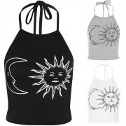 Women's Fashion Sleeveless Sun Moon Print Halter Neck Crop Top