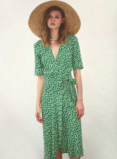 Women's Fashion Wrap V Neck Floral Tie Waist Midi Dress