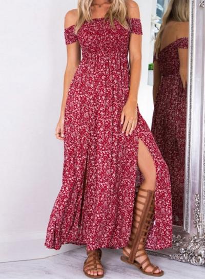 Women's Fashion off Shoulder Boho Floral Print Side Slit Dress