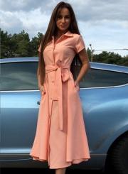 Women's Fashion Short Sleeve Split Mid Shirt Dress with Belt