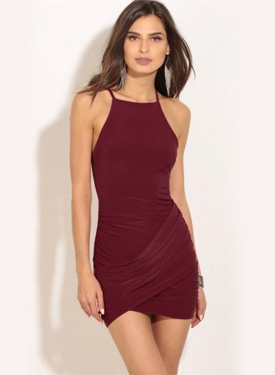 Women's Fashion off Shoulder Sleeveless Irregular Bodycon Mini Dress