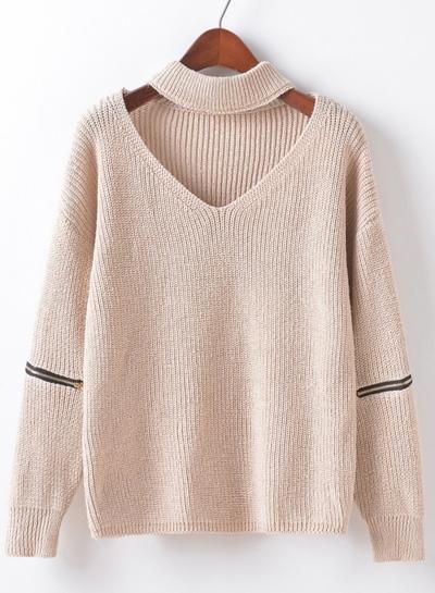 Women's Fashion Choker V Neck Elbow Zipper Long Sleeve Pullover Sweater