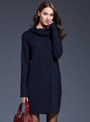 Women's Fashion High Neck Knitted Long Sleeve Pullover Long Sweater