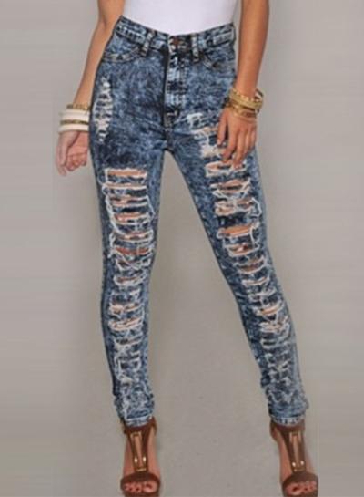 Women's Fashion High Waist Skinny Ripped Snowflake Pencil Pants
