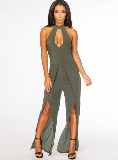 Women's Fashion Halter Choker Sleeveless Hollow Out Slit Jumpsuit