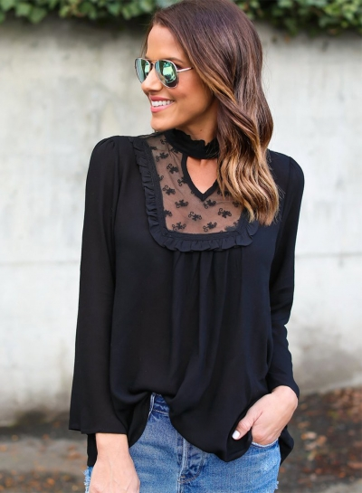 Women's Fashion Solid Long Sleeve Lace Chiffon Blouse