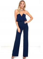 Women's Fashion Tube Backless High Waist Wide Leg Jumpsuit
