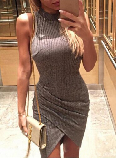 Women's Fashion Mock Neck Sleeveless Irregular Bodycon Dress