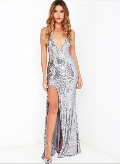 Women's V Neck Sleeveless Backless Slit Maxi Sequins Dress