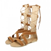 Women's Gladiator Lace up Flat Heels Boots Sandals