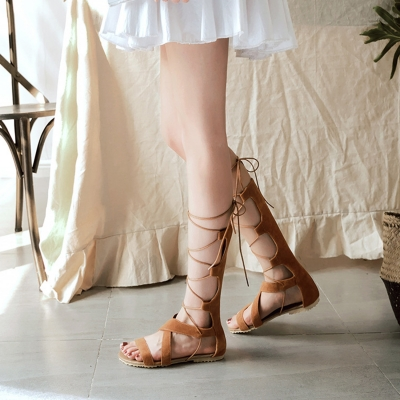 Women's Gladiator Lace up Flat Heels Boots Sandals stylesimo.com