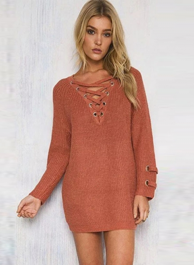 Women's Solid V Neck Lace-up Long Sleeve Pullover Sweater