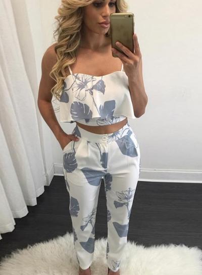Women's Spaghetti Strap Print Blouse Pants Set