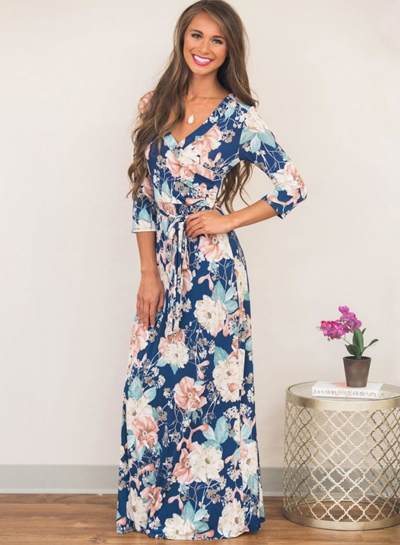 Women's Three Quarter Length Sleeve Floral Print Dress