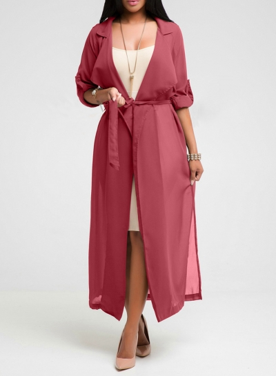 Women's Solid Half Sleeve Open Front Chiffon Kimono