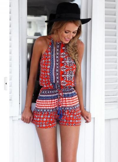 Women's Fashion Halter Sleeveless Backless Printed Romper