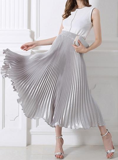 Women's Fashion High Elastic Waist Pleated Maxi Dress