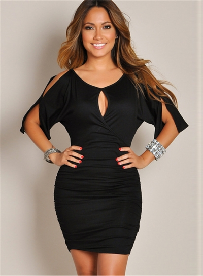 Women's Fashion Solid Split Short Sleeve Bodycon Mini Dress