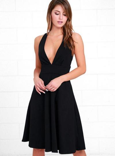 Women's Solid V Neck Sleeveless Slim Dress