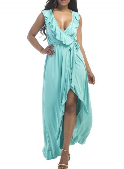 Women's Deep V Neck Flounce Panel Irregular Maxi Dress STYLESIMO.com