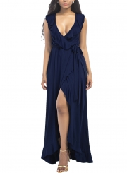 Women's Deep V Neck Flounce Panel Irregular Maxi Dress