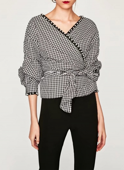 Women's Fashion Plaid Wrap V Neck Long Sleeve Pearls Tie Waist Blouse