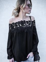 Women's Fashion off Shoulder Lace Long Sleeve Loose Blouse