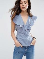 Women's V Neck Flounce Sleeve Slim Striped Blouse