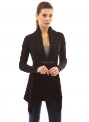 Women's Fashion Long Sleeve Cable Knit Irregular Cardigan