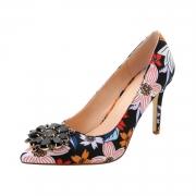 Women's High Heels Rhinestone Pointed Toe Floral Pumps