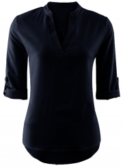 Women's Fashion Solid V Neck 3/4 Sleeve Pullover Blouse