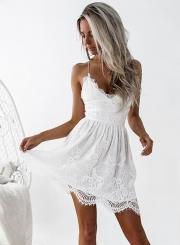 Women's Sexy Deep V Neck Sleeveless Backless Lace Slip Mini Dress