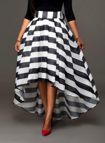 Women's Fashion High Waist Back Bow High Low Plaid Skirt