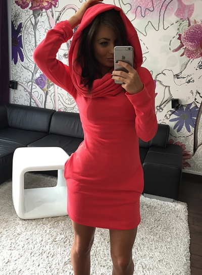Women's Fashion Long Sleeve Bodycon Mini hooded Dress with Pocket