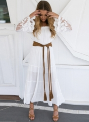 Women's Slash Neck Off Shoulder Lace Flare Sleeve Maxi Dress