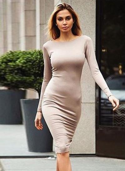 Women's Fashion Long Sleeve Back Zip Bodycon Dress