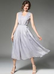Women's Solid Evening Pleated Chiffon Dress