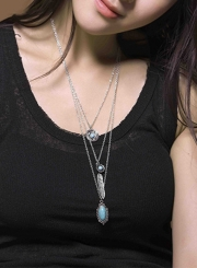 Women's Multi Layered Metal Feather Turquoise Necklace