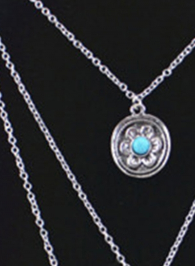 Women's Multi Layered Metal Feather Turquoise Necklace stylesimo.com