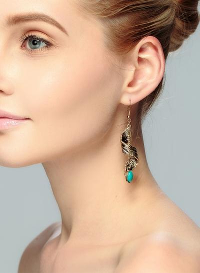 Women's Boho Metal Feather Turquoise Drop Earrings