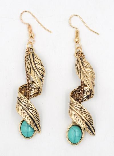 Women's Boho Metal Feather Turquoise Drop Earrings stylesimo.com