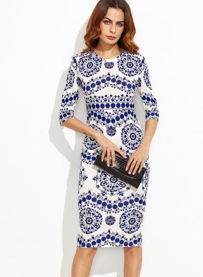 Women's Round Neck Half Sleeve Floral Printed Slim Midi Dresses