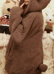 Women's Long Sleeve Zip Up Bear Ear Plush Hoodie